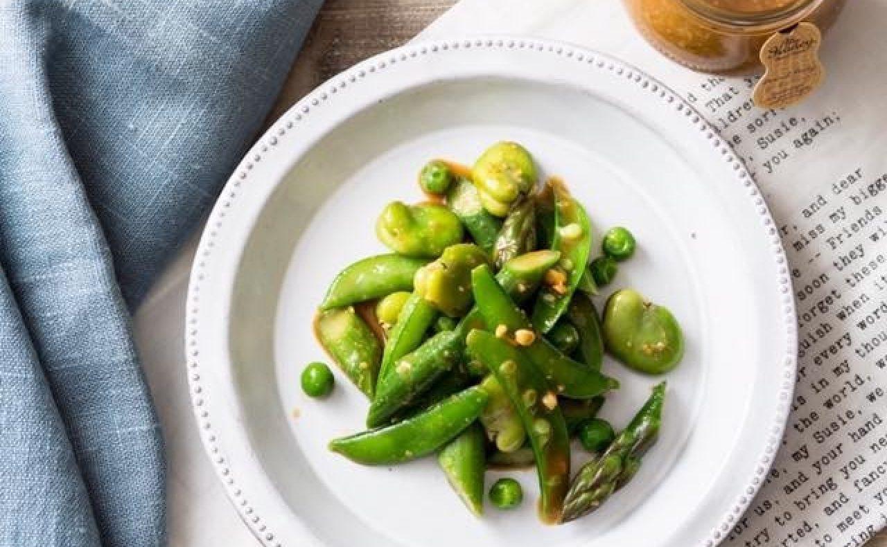 【レシピ】ピーナッツハニーの緑の和え物